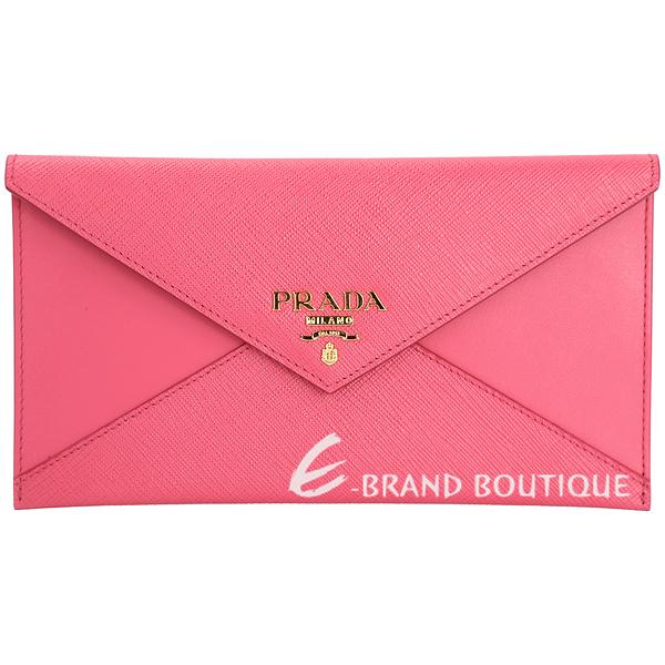 PRADA Envelope 拼接信封設計釦式長夾/手拿包(桃粉色) 1711001-41