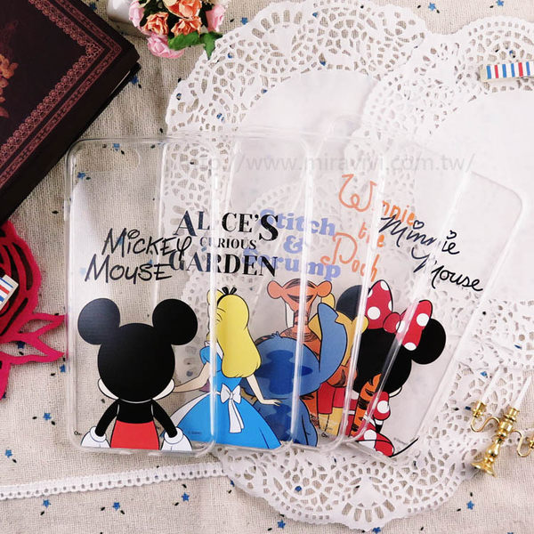 【Disney】迪士尼iPhone 8 Plus /iPhone7 Plus5.5可愛透明保護軟套-背影系列,米奇/米妮/史迪奇/維尼