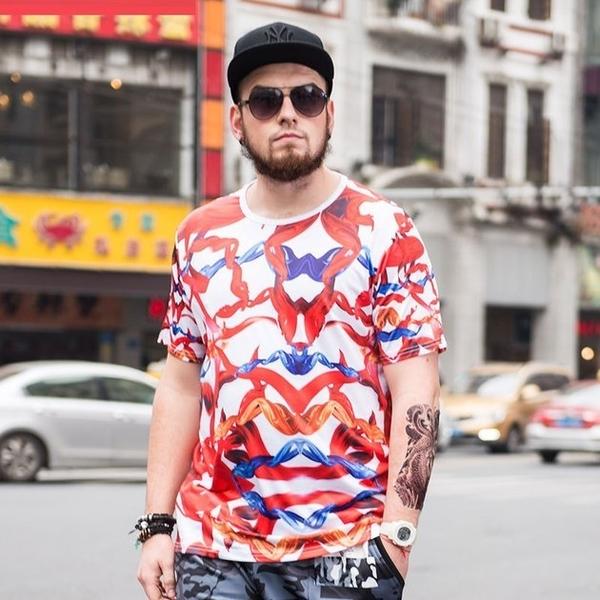 FINDSENSE品牌監製 大尺碼男裝 寬鬆加肥加大號上衣胖子時尚薄款個性印花短