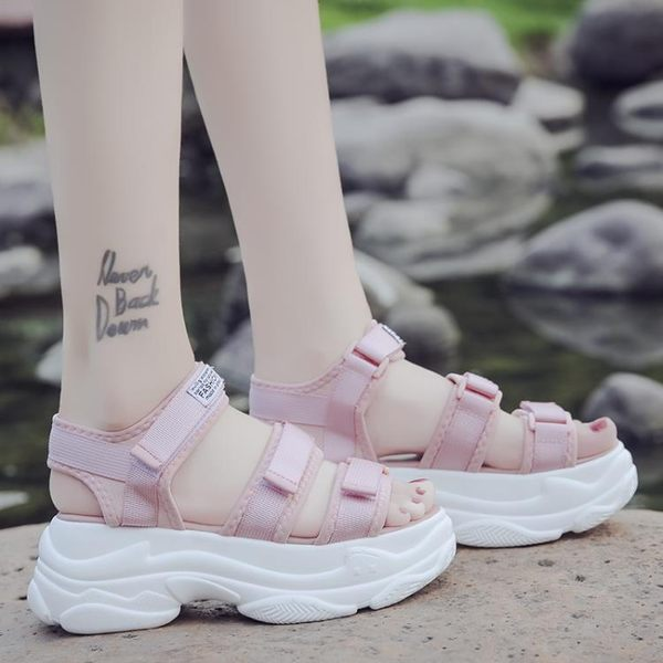 厚底涼鞋女夏新款學生百搭韓版原宿風平底運動女士網紅鬆糕鞋 居享優品