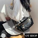 OT SHOP側肩背 斜肩背 腰包 胸包 造型拉鍊頭 鍊帶 復古文青格紋質感皮革 黑色米白色 現貨 H2053