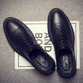 商務鞋男 夏季社會英倫黑色休閒小皮鞋男士正裝韓版潮流青年布洛克雕花男鞋 俏女孩