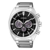 CITIZEN 星辰 沉穩內斂光動能三眼計時腕錶-黑/45mmCA4280-53E