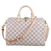 【Louis Vuitton 路易威登】N41373 經典Damier帆布白色棋盤格speedy 手提/斜背波士頓包