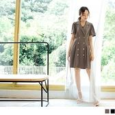 《DA7839-》涼爽大理石質感雙排釦襯衫領打褶洋裝 OB嚴選