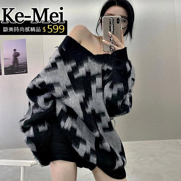 克妹Ke-Mei【ZT64312】NUTS個性感中長款V領千島格毛海毛衣洋裝