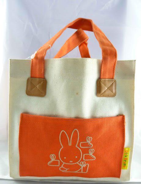 【震撼精品百貨】Miffy 米菲兔米飛兔~橘色方型帆布手提袋『鞋子』