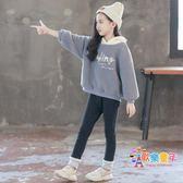 女童秋冬裝連帽T恤套裝2018新款洋氣兒童裝加厚刷毛兩件套大童冬季潮