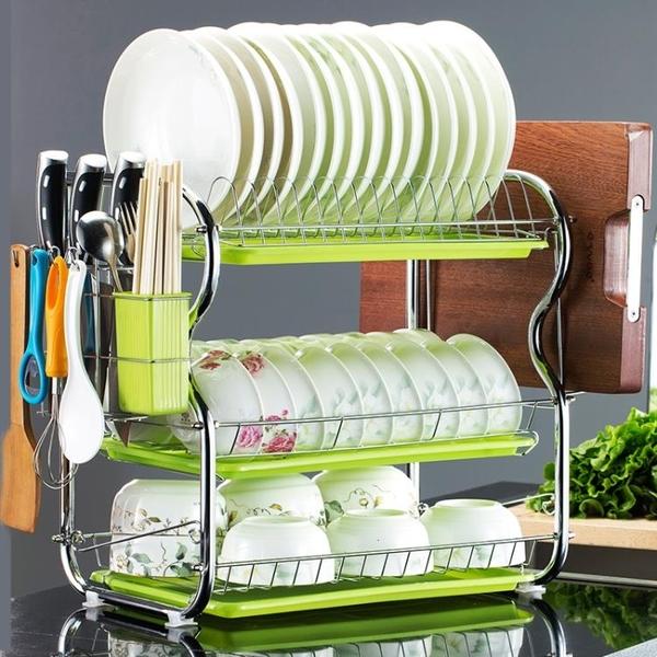 廚房置物架三層碗碟架碗架瀝水架