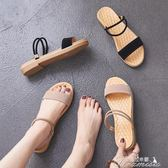 簡約一字帶仙女鞋夏季新款韓版百搭一鞋兩穿網紅平底女士涼鞋 聖誕節下殺