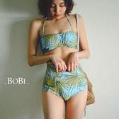 繞頸比基尼 清新印花高腰繞頸兩件式泳裝泳衣【SF16030】 BOBI  06/08