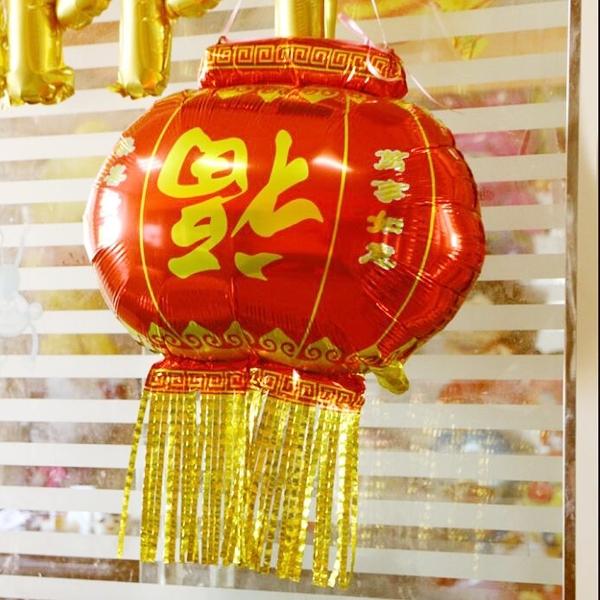 【BlueCat】福到你家紅燈籠流蘇鋁膜氣球 佈置