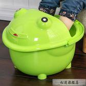 泡腳桶 兒童卡通洗腳桶加厚寶寶大號按摩足浴盆塑料帶蓋保溫洗腳盆-超凡旗艦店