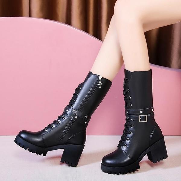 高跟短靴 英倫風馬丁靴女2021年冬季新款粗跟高跟中筒靴黑色短靴加絨高筒靴 薇薇