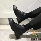 英倫風百搭中幫切爾西靴子馬丁靴男真皮黑色高幫皮鞋【創世紀生活館】