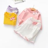 女童打底衫 女童長袖打底衫秋裝2019新品兒童木耳邊上衣可愛女兔耳朵T恤【免運】