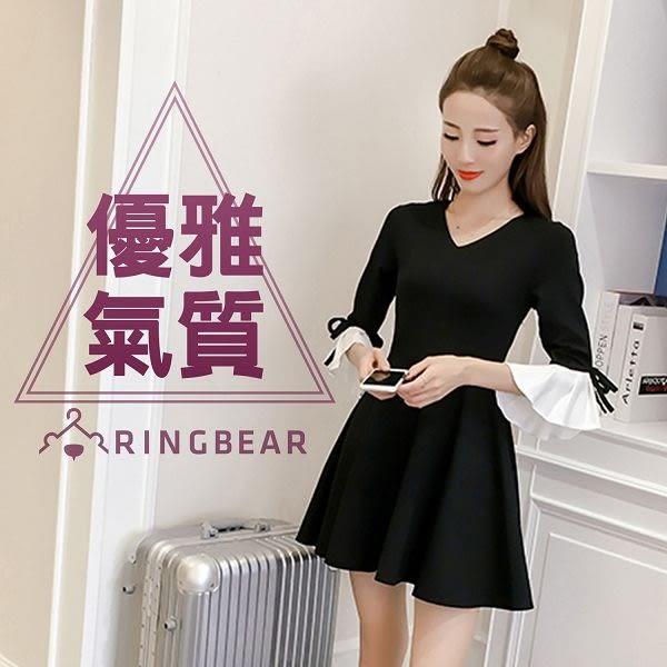 黑色洋裝--優雅氣息V領氣質蝴蝶結剪接細褶荷葉七分袖連身裙(黑L-3L)-U494眼圈熊中大尺碼