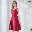 OMUSES 緞布簡約晚宴伴娘婚紗訂製紅色短禮服