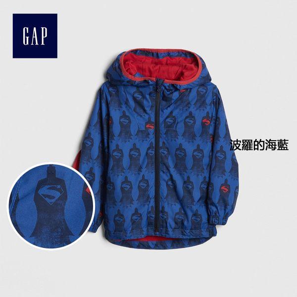Gap男嬰幼童 DC™正義者聯盟系列長袖連帽披風式防風外套 442669-波羅的海藍