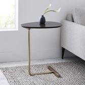 創意簡約橢圓形茶幾 移動實木鐵藝沙發角幾邊幾 懶人床頭閱讀桌