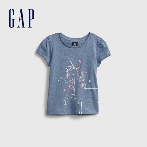 Gap女幼童 布萊納系列 童趣印花泡泡袖T恤 677877-獨角獸圖案