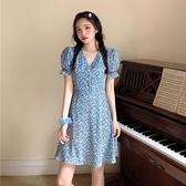 碎花洋裝女夏2021新款洋裝韓版收腰氣質雪紡裙中長款很仙的裙子