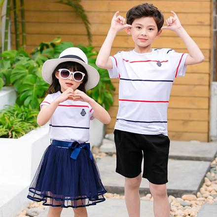 韓版混色線條網紗短袖上衣親子裝(女童)