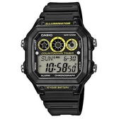 【CASIO】十年之旅方款膠帶電子錶-黑X黃(AE-1300WH-1A)