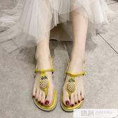 網紅ins潮仙女風涼鞋女2019夏季新款百搭平底一字帶夾趾學生女鞋 韓慕精品