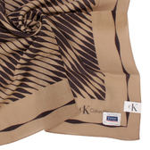 Calvin Klein CK波浪紋天然材質帕領巾帕巾領巾手帕(駝色)989091