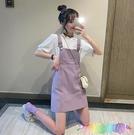 夏季新款時尚韓版高腰學生百搭洋氣減齡紫色網紅背帶短裙女潮 快速出貨