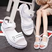 低跟涼鞋 2021夏新款平底低跟平跟鬆糕跟厚底女涼鞋百搭韓版防滑女鞋學生鞋 晶彩 99免運