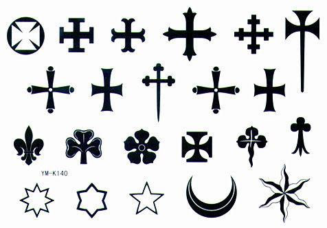薇嘉雅 十字 星星 月量 紋身貼紙 K140