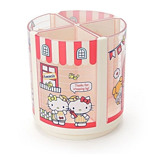 【震撼精品百貨】Hello Kitty 凱蒂貓~Sanrio HELLO KITTY可旋轉四分格筆筒(美式漢堡)#82747