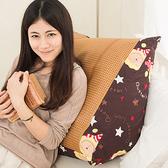 【奶油獅】正版授權-台灣製造-搖滾星星紙纖舒涼三角靠墊-咖啡(一入)