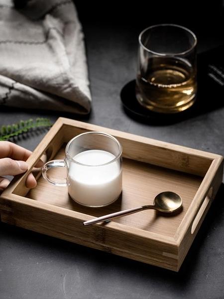 日式竹制水果客廳小托盤長方形家用木質茶杯商用木制茶盤餐具小型-享家