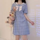 裙子2020夏季新款日系甜美顯瘦氣質小清新海軍領格子夏天連身裙女 智慧e家