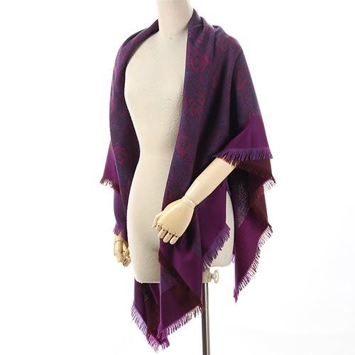 Christian Dior 時尚滿版玫瑰大羊毛薄披肩(暗紫紅色)173003-1