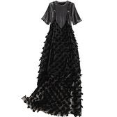 短袖套裝(兩件套)-針織打底裙網紗吊帶裙女裙子73yd27【時尚巴黎】