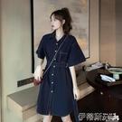 polo洋裝夏季韓版2020新款氣質收腰顯瘦百搭系帶單排扣短袖連身裙女裝裙子 伊蒂斯