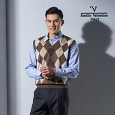 Emilio Valentino范倫鐵諾學院風絲光羊毛背心 (咖啡)