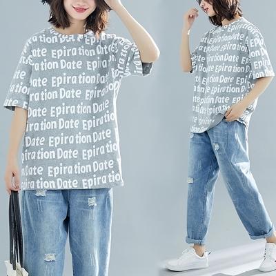 胖妹妹大碼短T~加肥加大碼女裝短袖t恤女字母印花胖mm寬松上衣N181A衣時尚