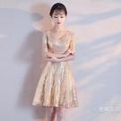 宴會小禮服女夏季短版金色派對公主蓬蓬裙洋裝洋裝晚禮服