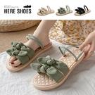 [Here Shoes]2cm涼鞋 優雅氣質寬帶蝴蝶結 布面平底圓頭兩穿涼拖鞋-AN032