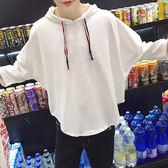 韓版男生七分袖t恤原宿風BF寬鬆蝙蝠衫7分韓國夏季潮流帶帽上衣服『韓女王』