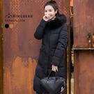 大衣--高雅氣質保暖毛領連帽深口前口袋羽絨棉長版外套(黑.卡其XL-3L)-J326眼圈熊中大尺碼