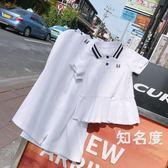 親子裝 親子裝嬰兒夏2019新款polo衫一家三口裝母女母子裝短袖T洋裝潮