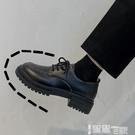 皮鞋 英倫小皮鞋女2021春季新款百搭韓版學生系帶復古增高厚底中跟單鞋 【99免運】