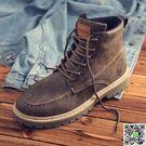 短靴 馬丁靴男中幫短靴英倫風復古2018新款高幫潮鞋工裝靴軍靴沙漠靴子 全館免運