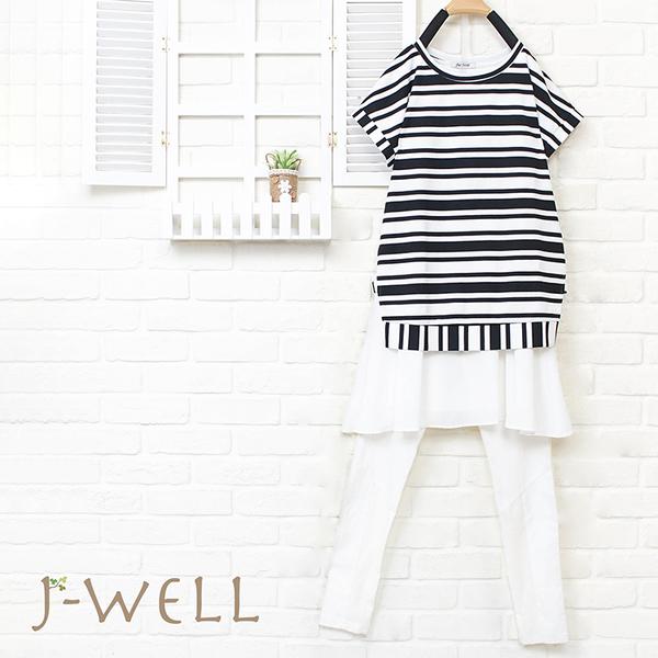 J-WELL 條紋拼接短袖洋裝緊身褲二件組(組合925 8W6314黑白F+8W6298白M/L)
